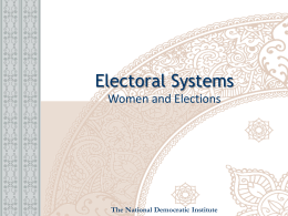 Electoral Systems - National Democratic Institute