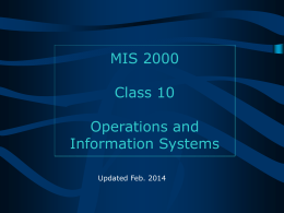 Operations and Systems (TPS, MIS)