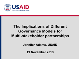 The Implications of Different Governance Models for Multi