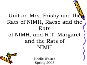 Unit on Mrs. Frisby and the Rats of NIMH, Racso and the Rats of