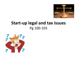 Start-up legal and tax issues Pg 100-103