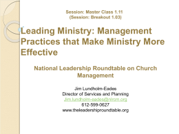 Management Practices that Make Ministry More Effective