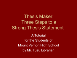 Thesis Maker - Mount Vernon City Schools