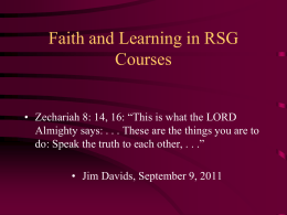 Faith and Learning in RSG Courses