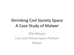 Shrinking Civil Society Space A Case Study of Malawi