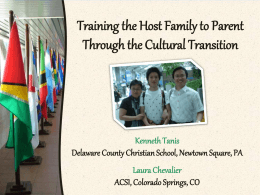 Training the Host Family to Parent through the Cultural Transition