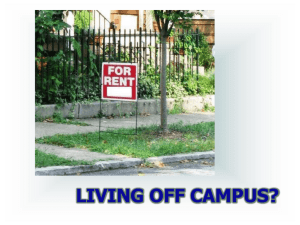 PowerPoint Presentation - Not living on Campus?
