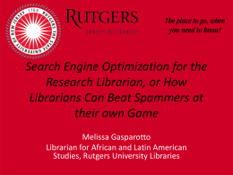 Search Engine Optimization for the Research Librarian