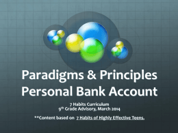 Paradigms & Principles Personal Bank Account