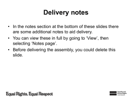 Assembly 1 - Equality and Human Rights Commission