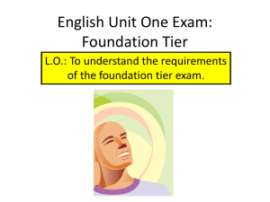 English Unit One Exam: Foundation Tier