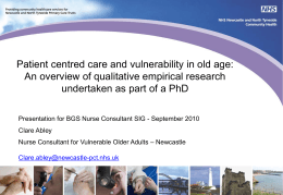Patient centred care for vulnerable older people