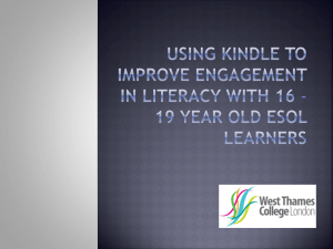 using Kindle to improve engagement in Literacy with 16