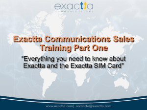 Sales Training - Exactta Communications : SIM Cards