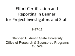 Banner Effort Reporting - Stephen F. Austin State University