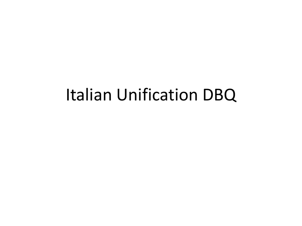italian unification dbq thesis