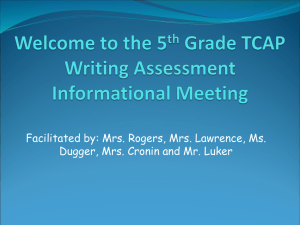 the 5th Grade TCAP Writing Assessment Informational Meeting