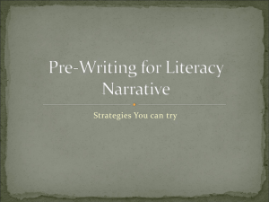 Pre-Writing for Literacy Narrative Power Point Presentation