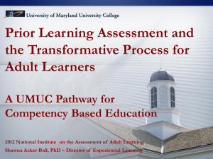 PLA and the Transformative Process for Adult Learners