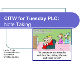 CITW for Tuesday PLC: Note Taking