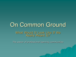 On Common Ground - Parkrose School District