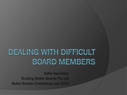 Dealing With Difficult Board Members