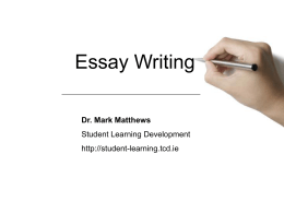 Essay Writing - Student Learning Development