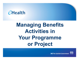Managing Benefits Activities – Slides