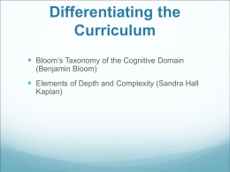 Bloom`s Taxonomy of the Cognitive Domain