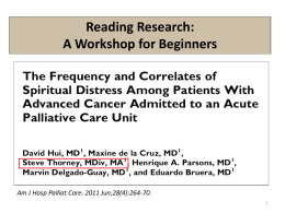 2012 - Reading Research: A Workshop for Beginners