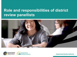 Roles and responsibilities of district review panels