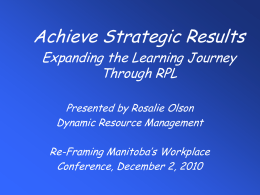 Expanding the Learning Journey Through RPL