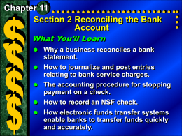 Section 2 Reconciling the Bank Account (con`t.)