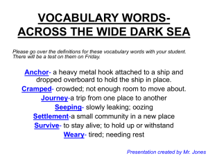 VOCABULARY WORDS-ACROSS THE WIDE DARK SEA Anchor