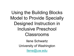 Using the Building Blocks Model to Provide Specially Designed