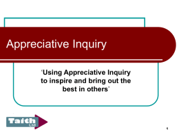 Appreciative Inquiry - Public Services Schools and Conferences