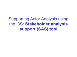 Stakeholder Analysis Support (SAS) tool