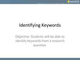 Identifying Keywords