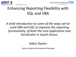 Enhancing Reporting Flexibility with SQL and VBA