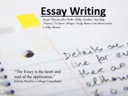 Essay Writing Powerpoint Presentation