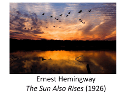 Ernest Hemingway The Sun Also Rises (1926)