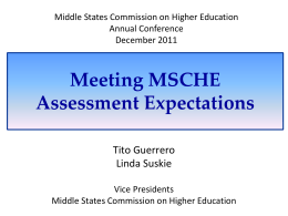 Understanding MSCHE Expectations for Assessment