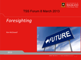 TSS Forum 8 March 2013 - The Sustainability Society