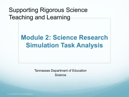 Module 2: Science Research Simulation Task Analysis