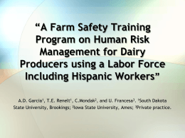 A Farm Safety Training Program on Human Risk Management for
