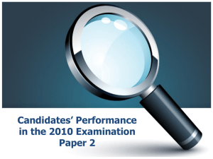 Candidates` Performance in the 2010 Examination