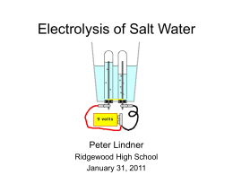 Electrolysis of Salt Water Lab