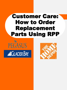 Customer Care: How to Order Parts(powerpoint version)