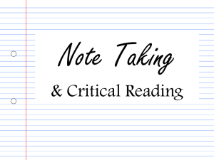 Note taking and critical reading