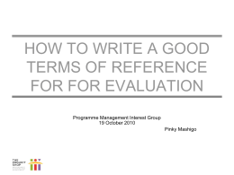 How to write a good ToR for Evaluation-Pinky